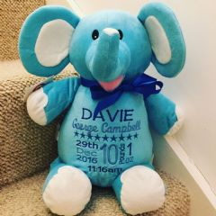 Personalised Soft Toy Animal Cubbie Elephant Blue *Limited*